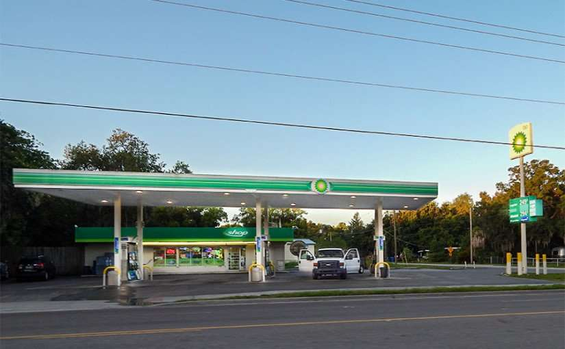 MAY 28, 2015 - BP Gas Station selling regular for 249 a gallon in Gibsonton, Florida