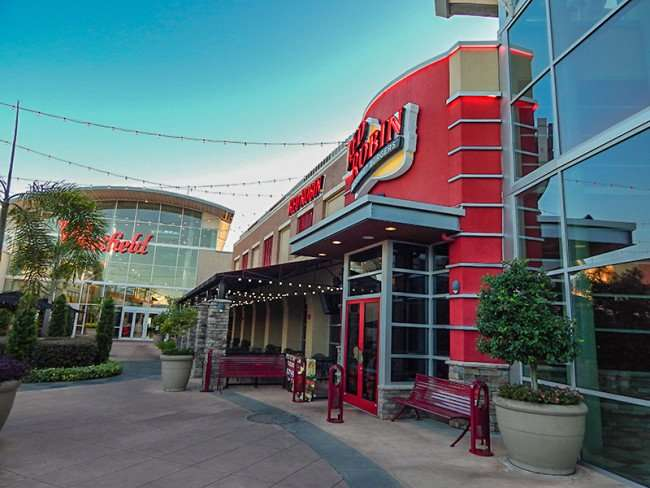 MAY 28, 2015 - Outside dining and front entrance for Red Robbins hamburger restaurant at Westfield Brandon Mall, Brandon, FL