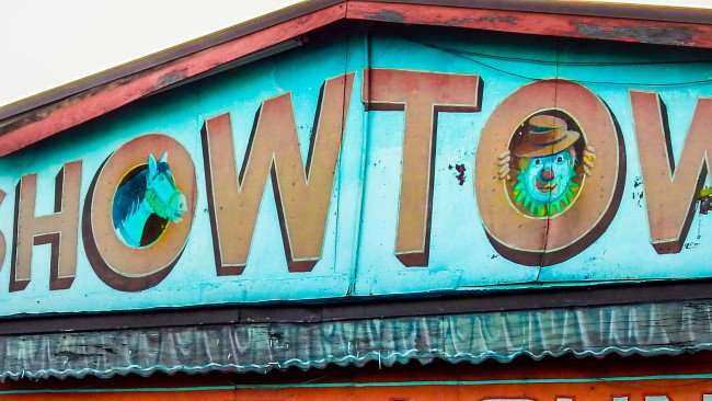 MAY 31, 2015 - Horse and Clown painted on facade of Showtown Bar and Grill, Gibsonton, FL
