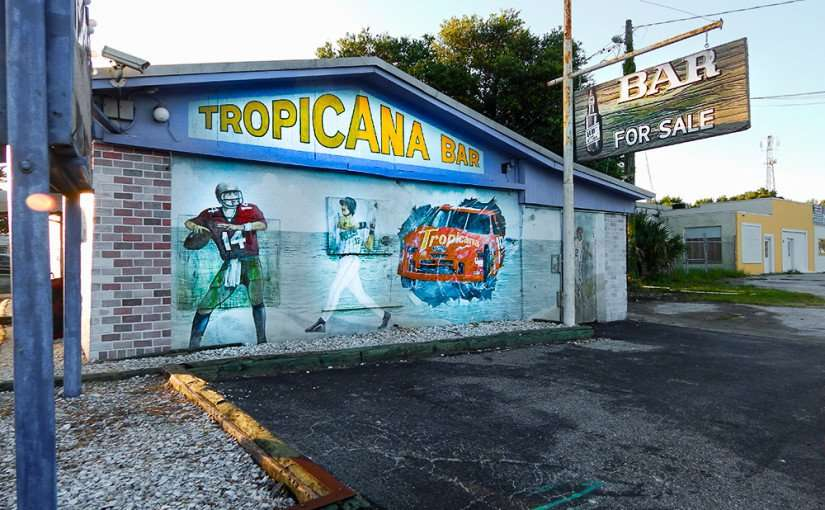 MAY 31, 2015 - Mural painting on Tropicana Bar on Tamiami Trail Hwy 41, Gibsonton South Shore, FL 1