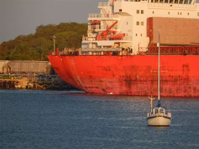 MAY 31, 2015 - Mystic Striker, a big red cargo ship by Williams Park at Mosaic Fertilizer, Gibsonton-Tampa, FL