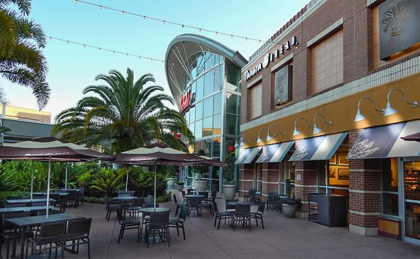 Panera Bread in morning on patio without people at Westfield Brandon Mall Shopping Center