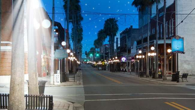 7th Avenue Ybor City early moring beam of lights