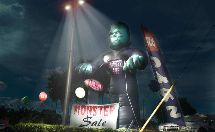 July 14, 2015 - A two story tall Frankenstein represents Monster Sale at Century Kia Of Tampa Florida