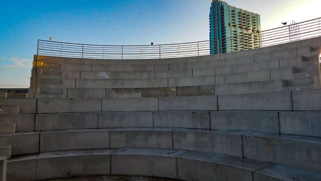 JULY 26, 2015 - A view from stage of Amphitheater showing concrete seating at Kiley Garden Nations Bank Park in Tampa, FL/photonews247.com