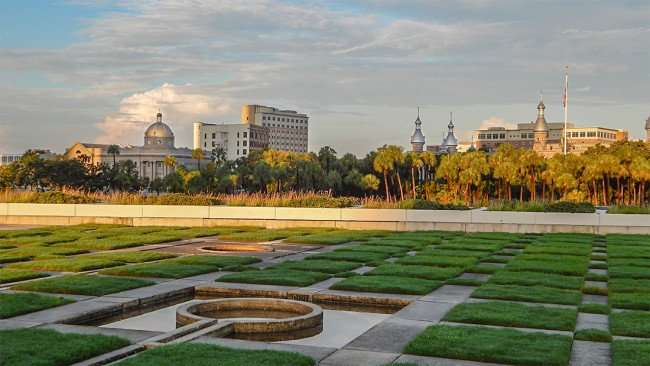 JULY 26, 2015 - A view of First Baptist Church of Tampa and UT from Kiley Park, Nations Bank Park, Tampa, FL/photonews247.com