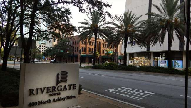 JULY 26, 2015 - Across the street from Rivergate Tower on Ashley shows construction of Peal Salon Tampa going on inside Park Tower/photonews247.com