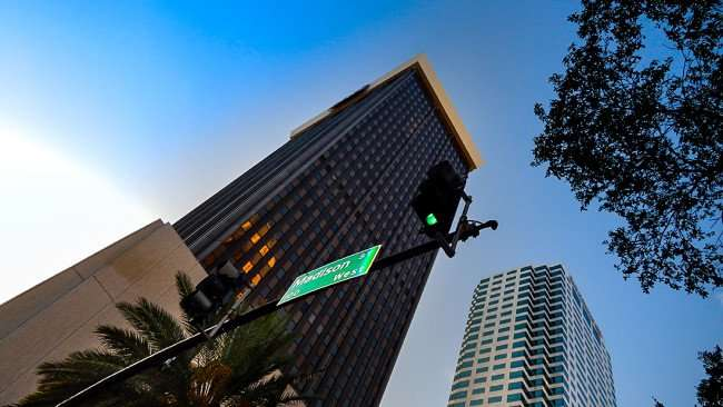 JULY 26, 2015 - Park Tower (BB&T Building) from West Madison Street with Bank Of American building in background in Tampa, FL/photonews247.com