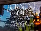 NOV 8, 2015 - Bernini Restaurant features daily half price entrees between 4 - 7 pm in Ybor City, Tampa, FL/photonews247.com