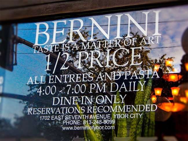 NOV 8, 2015 - Bernini Restaurant features daily half price entrees between 4 - 7 pm in Ybor City, Tampa, FL/photonews247.com