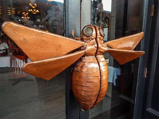 NOV 8, 2015 - Bernini front door handle is a flying bug or fly in Ybor City Tampa, FL/photonews247.com