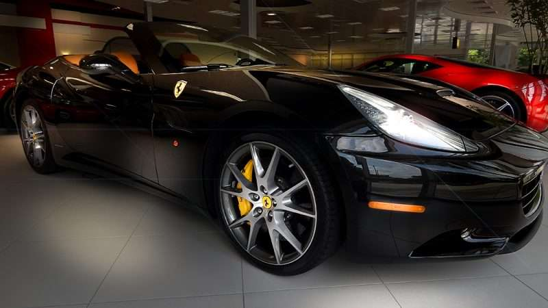 July 14, 2015   Black 2010 Ferrari California With Brown Seats In Mid 100  Thousands