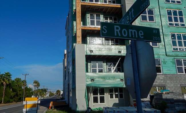 July 19, 2015 - Broadstone Hyde Park Apartments, construction view from Rome Av and Platt St, Tampa, FL