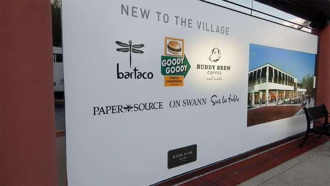 JULY 14, 2015 - Buddy Brew Coffee craft roasters on New To The Village banner in Hyde Park Village, Tampa, FL