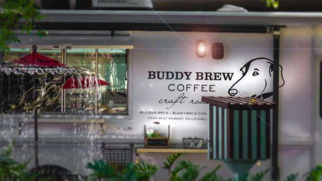 April 10, 2016 - Buddy Brew coffee food truck in Hyde Park Village by water fountain/photonews247.com