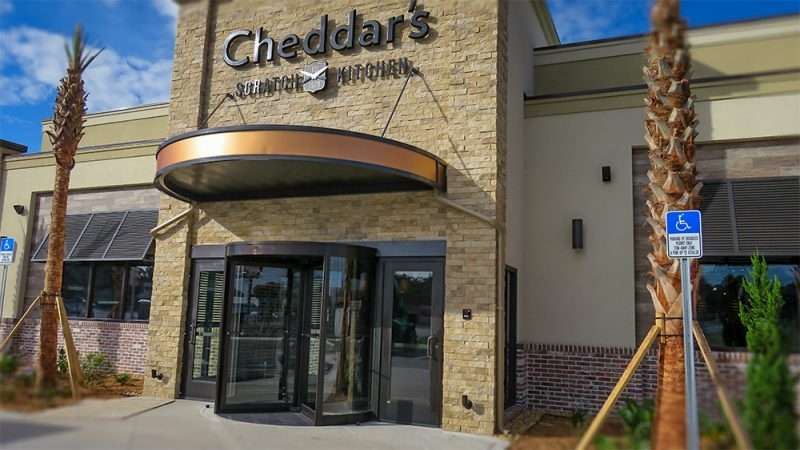 cheddars scratch kitchen restaurant front entrance with revolving doors on n dale mabry - Cheddar Scratch Kitchen