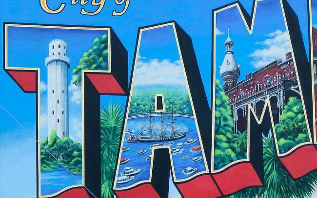 July 19, 2015 - City of Tampa Postcard: The 'T' containing Sulpher Springs Water Tower, the 'A' with the Gasparilla ship and the 'M' with the University of Tampa inside