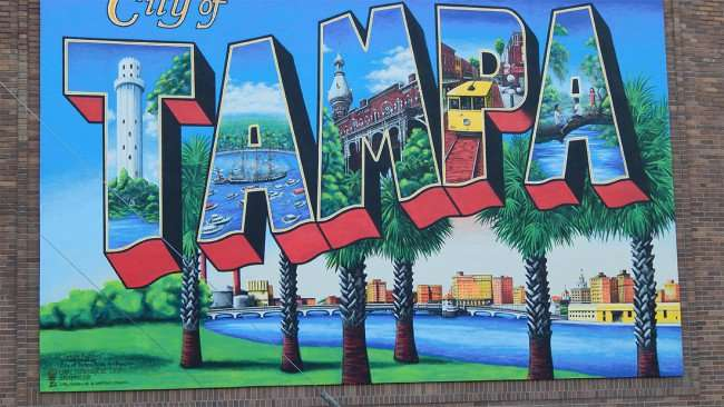 July 19, 2015 - City of Tampa Postcard mural by Carl Cowden