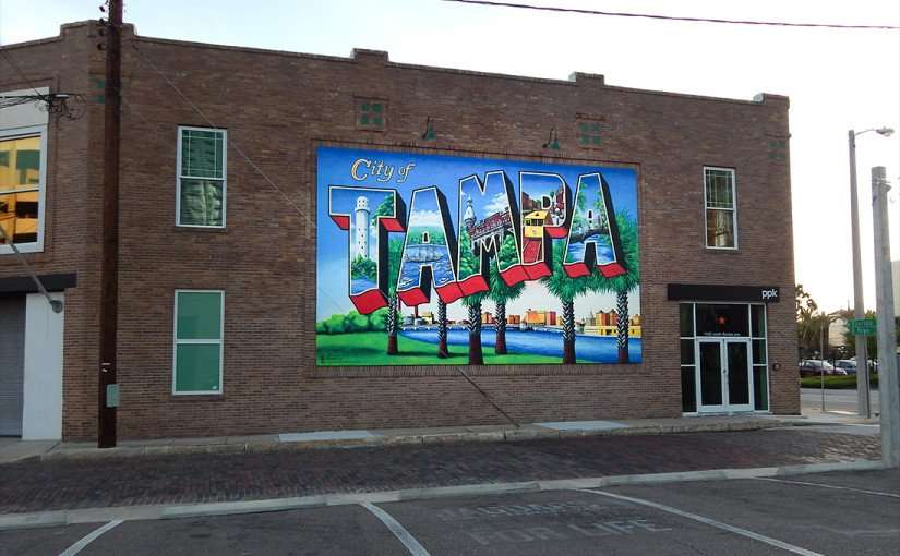 July 19, 2015 - City of Tampa postcard mural on buildig at 1102 Florida Ave and E Royal, Tampa, FL