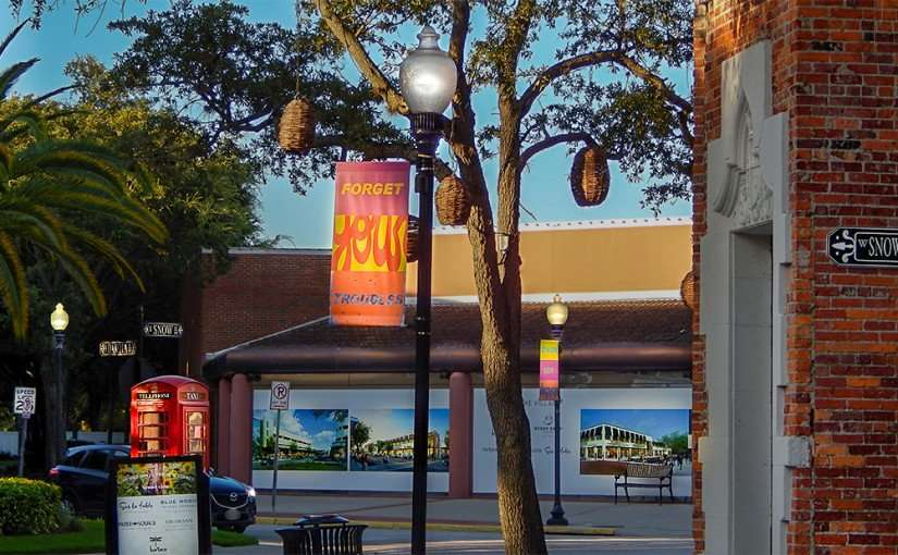 July 19, 2015 - Deborah Kass artwork FORGET YOUR TROUBLES featured on banners in Hyde Park Village