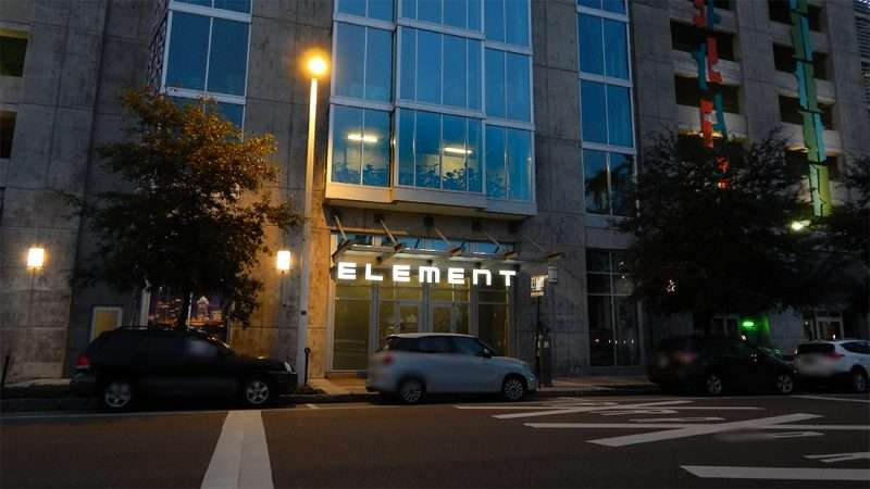 AUGUST 9, 2015 - Element Luxury Apartment sign lights up on Tampa St at night in Downtown, Tampa, FL/photonews247.com