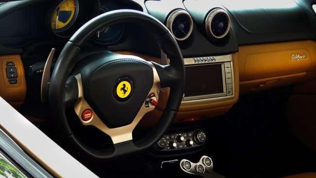 July 14, 2015 - Front dash of 2010 Ferrari California with Cuoio leather Interior, Ferrari of Tampa Bay