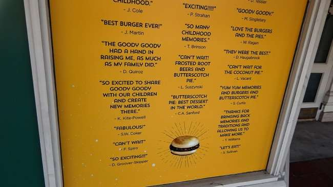 July 14, 2015 - Goody Goody quotes from people over the years on front restaurant, Hyde Park Village, Tampa, FL