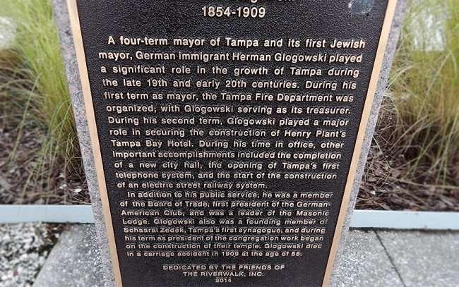 AUG 23, 2015 - Herman Glogowki historic plate dedicated by Friends Of The Riverwalk of Tampa 2014/photonews247.com