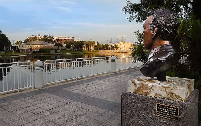 AUG 23, 2015 - Herman Glogowski statue of four-time Tampa Mayor on Riverwalk allong Hillsborough River/photonews247.com