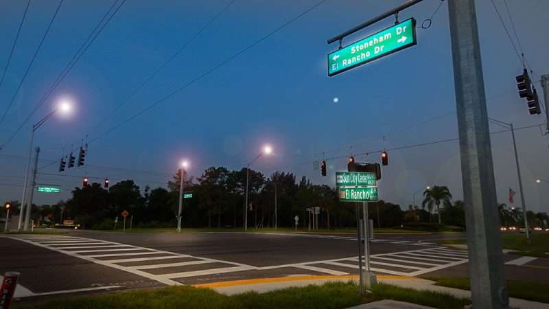 July 3, 2015 - New signal traffic light turned on at Sun City Center Blvd, Stoneham Dr and El Rancho Dr