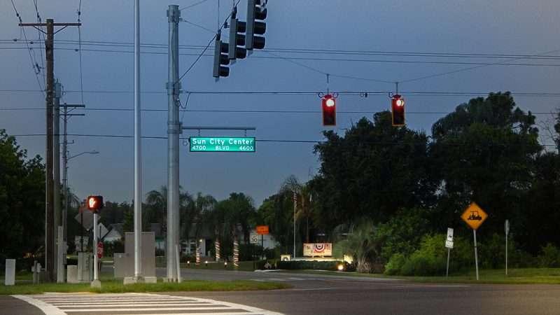 July 3, 2015 - St Andrews Estates entrance on Sun City Center Blvd with new traffic light, SouthShore, FL