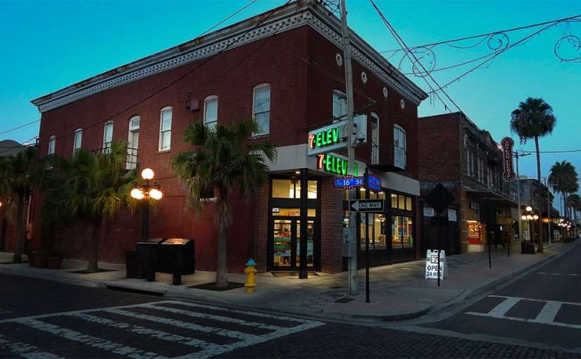 July 5, 2015 - 7-Eleven in 1908 building on 19th and 7th Avenue in Ybor City, Tampa, FL