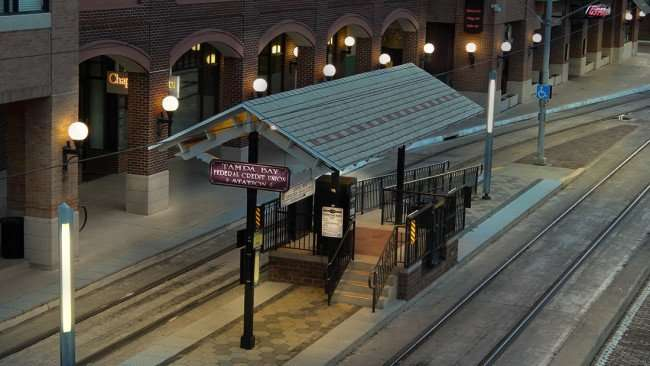 July 5, 2015 - Tampa Bay Federal Credit Union Station on E 8th Ave at Centro Ybor City, Tampa, FL