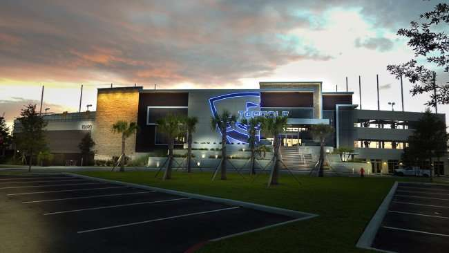 July 6, 2015 - TOPGOLF Tampa entire length of front building in Brandon, FL