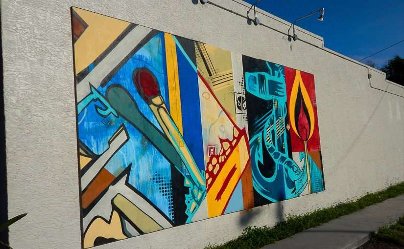 JULY 19, 2015 -The matchbook mural is on the east wall of The Hyde Out Lounge on Platt Street, Tampa, FL/2015 photonews247.com