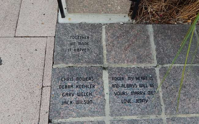 Aug 23, 2015 - Most creative marriage proposal written by Jenny for Roger on Tampa Riverwalk brick/photonews247.com