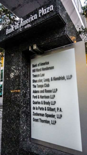AUG 9, 2015 - Outside company list on black marble kiosk for Bank of America on Kennedy Blvd, Downtown Tampa, FL