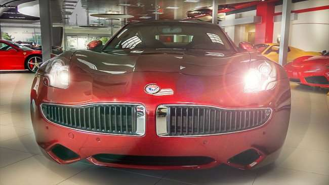 July 14, 2015 - Red Fibkar with lights on at Ferrari of Tampa Bay in Palm Harbor, Pinellas County, FL