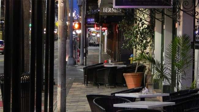 July 19, 2015 - Sidewalk dining area at Bernini of Ybor Italian Restaurant on 7th Avenue, Ybor City, Tampa, FL