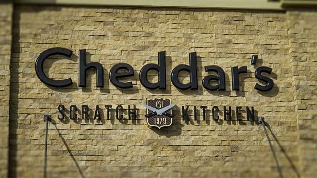 DEC 6, 2015 - Sign and logo of Cheddars Scratch Kitchen Est 1979 in restaurant on Dale Mabry Hwy in Carrollwood Tampa, FL/photonews247.com