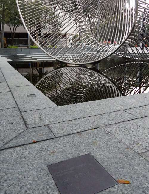 AUG 9, 2015 - Solstice artwork twisted steel at Bank of America Plaza Downtown Tampa, FL/photonews247.com