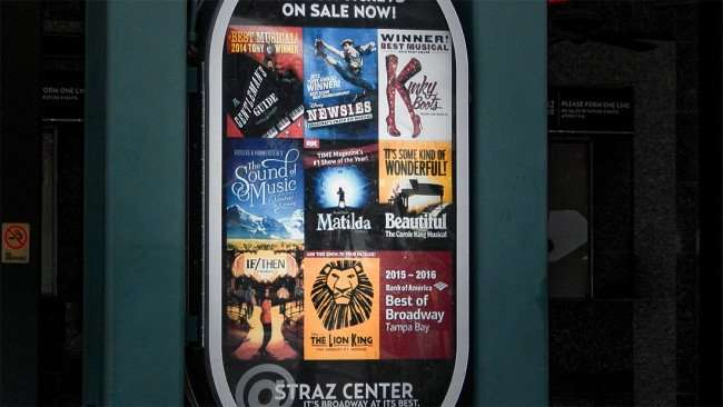 JULY 26, 2015 - Straz Center showing Broadway at its best: Kinky Boots, The Lion King, Matilda, If-Then, Newsies, Gentlemans Guide in downtown Tampa Florida.