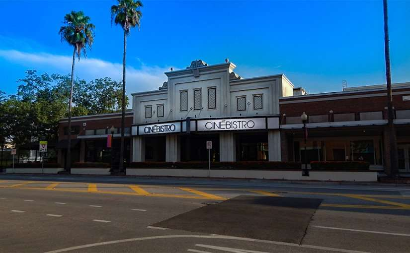 JULY 14, 2015 - Street view of CineBistro theater with red flowers on Swann Ave in Hyde Park Village, Tampa, FL/2015 photonews247.com