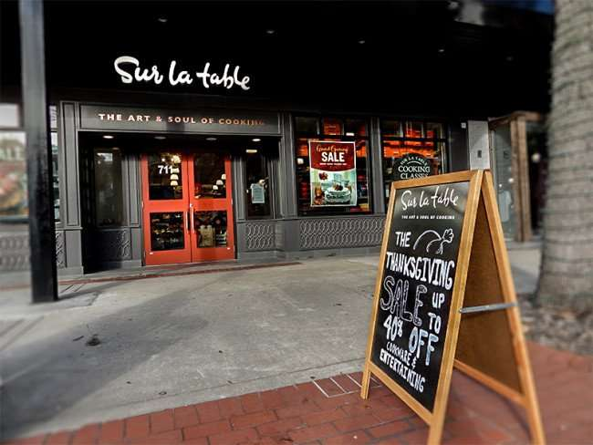 NOV 8, 2015 - Sur la table tagline on door The Art and Soul of Cooking in Hyde Park Village, Tampa, FL/photonew247.com