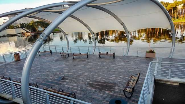 AUG 23, 2015 - Tampa Riverwalk rest area with canopy and benches to sit down in Downtown Tampa, FL/photonews247.com