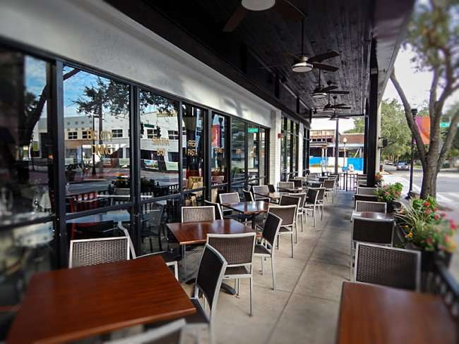 NOV 8, 2015 Timpano Restaurant with tables and chairs on sidewalk for outdoor dining, Hyde Park Village, Tampa, FL/photonews247.com