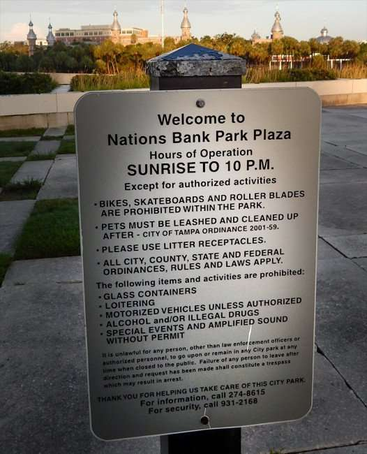 JULY 26, 2015 - Welcome Sign for Nations Bank Park (Kiley Park) with hours and rules in Tampa, FL/photonews247.com