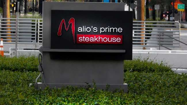 JULY 26, 2015 - sign of Malio's Prime Steakhouse along Ashley in Tampa, FL/photonews247.com