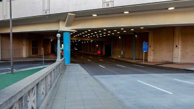 AUG 9, 2015 - A view of Channelside Drive Tunnel under the Tampa Convention Center from Platt Street Bridge, Tampa, FL/photonews247.com