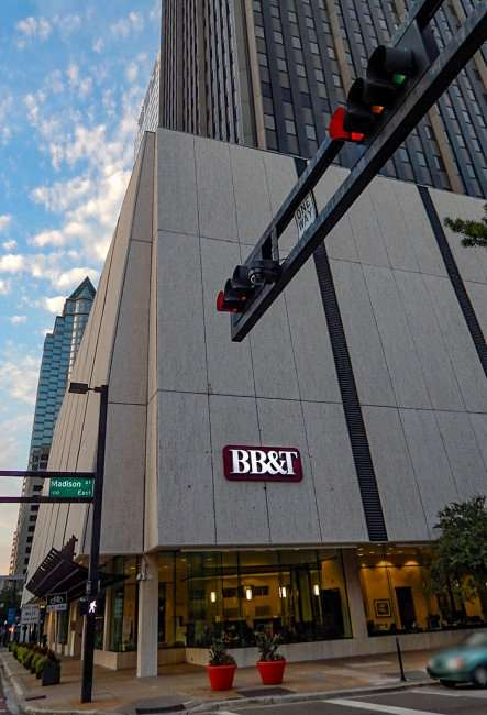 AUG 23, 2015 - BBT Park Tower building from Madison Street, Downtown Tampa/photonews247.com